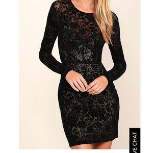 Lulu's Long Sleeve Velvet and Sheer Corset Dress